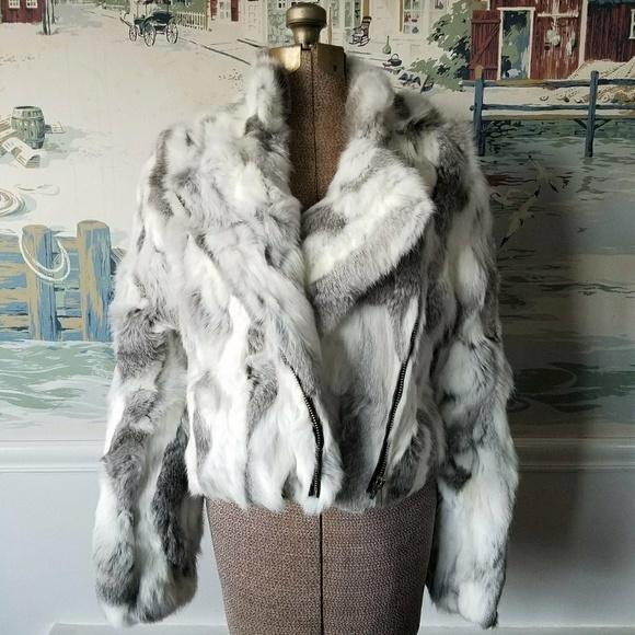 85f31a8116d2 Adrienne Landau Jackets & Coats | Textured Rabbit Fur Biker Jacket ...